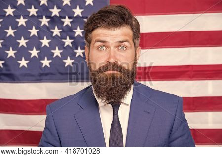Surprised Man Celebrate 4th Of July. Successful Business Trip To Usa. Explore America On Vacation. 4
