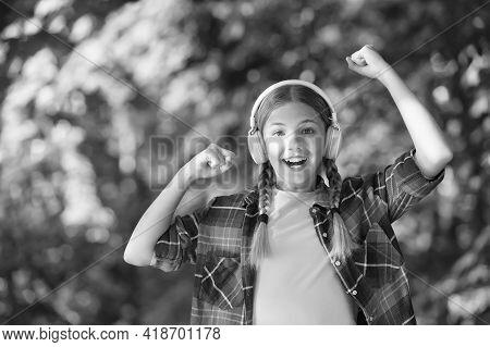 Exclusive Holidays For Winner. Happy Child Make Winner Gesture. Small Winner Celebrate To Music Natu