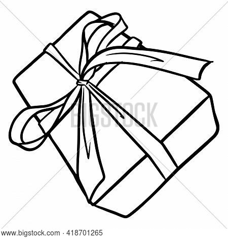 Present. Gift Wrapped With A Bow. Beautiful Decoration Of Gifts. Cartoon Style.