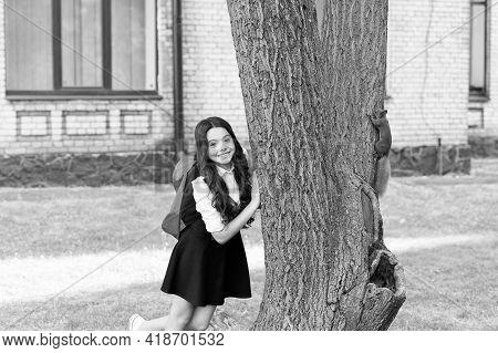 Happy Little Kid In School Uniform With Backpack Observe Squirrel Climbing Tree In Park, Outdoor Edu