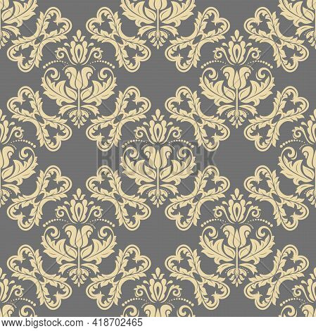 Classic Golden Seamless Pattern. Damask Orient Ornament. Classic Vintage Background. Orient Ornament