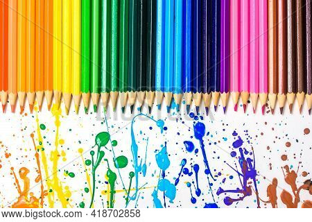Colored Pencils Of Various Colors, Color Background