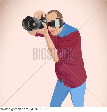 Photographer In Action. A Man Enthusiastically Takes Photos With A Camera With A Flash.