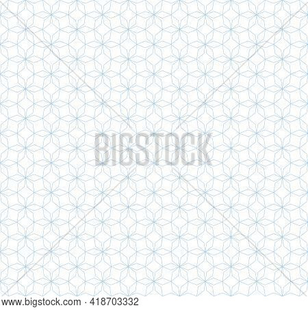 Subtle Abstract Geometric Seamless Pattern In Oriental Style. Thin Lines Texture, Elegant Floral Lat