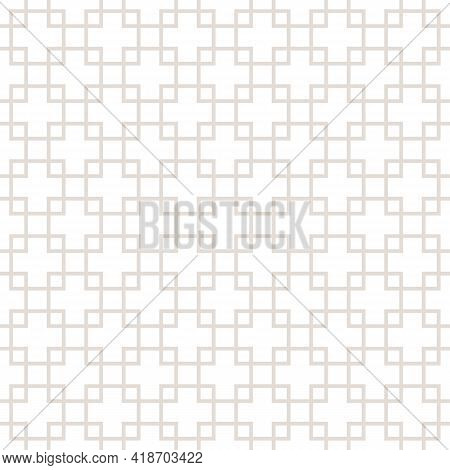 Square Grid Vector Seamless Pattern. Subtle Abstract Geometric Texture With Lines, Squares, Rhombus,