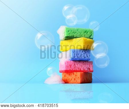 Sponges Cleaning Kit Isolated On Blue Background