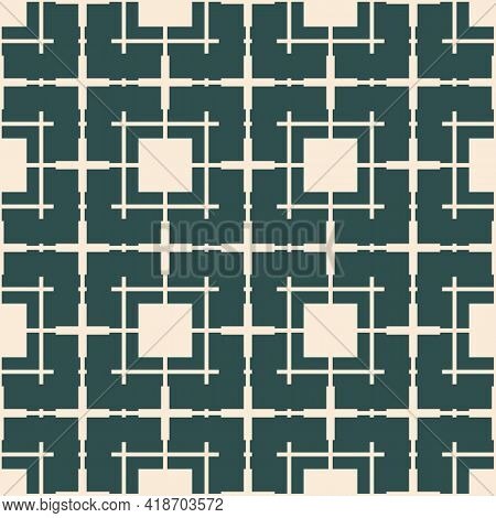 Abstract Geometric Seamless Pattern With Square Grid, Lattice, Mesh, Net, Grill. Simple Dark Green A