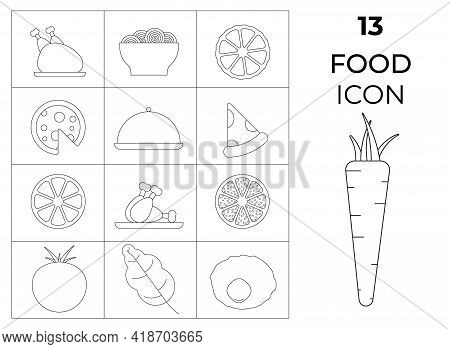 Set Of 13 Black And White Food Icons - Tomato, Carrot, Chicken, Pizza, Salad. Vector Illustration