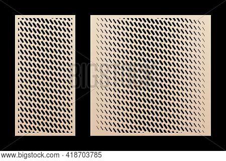 Laser Cut Panel Set. Vector Design With Trendy Geometric Pattern, Halftone Grid, Diagonal Lines, Gra