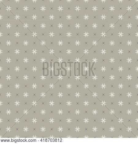 Simple Vector Geometric Floral Texture. Abstract Seamless Pattern With Small Flower Silhouettes, Cro
