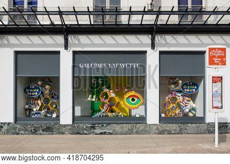 BAYONNE, FRANCE - CIRCA APRIL 2021: La Grande Recre window display at the Galeries Lafayette.