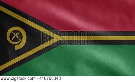 Vanuatuan Flag Waving In The Wind. Vanuatu Banner Blowing Soft Silk.