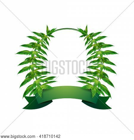Circle Frame Of Hemp Leaves Around A White Empty Space With Freen Ribbon For Your Text. Cannabis Lea