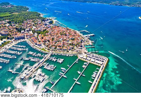 Biograd Na Moru Historic Coastal Town Aerial View, Dalmatia Region Of Croatia
