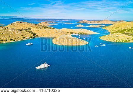 Kornati. Island Archipelago Of Kornati National Park Yachting Destination Aerial View, Dalmatia Regi