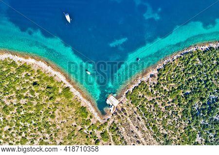 Zadar Archipelago Galesnjak Island Coastline Sailing Bay Aerial View, Dalmatia Region Of Croatia
