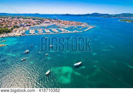 Biograd Na Moru Historic Town And Marina Aerial View, Dalmatia Archipelago Of Croatia