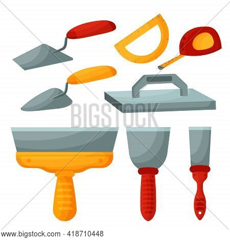Construction Tool Isolated On White Background. Spatula On A White Background. Putty Tool. Trowel Fo