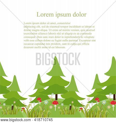 Fir Tree Forest With Flower Fly Agaric Mushroom Hill Seamless Pattern Lorem Ipsum Art Design Element