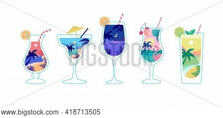 Summer Time Fun Concept Design With Cocktails. Creative Background Of Landscape, Panorama Of Sea And