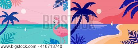 Summer Time Fun Concept Design. Creative Background Of Landscape, Panorama Of Sea And Beach. Summer