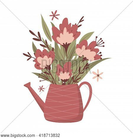 Bouquet Of Flowers In A Jug. For Greeting Cards, Posters, Stickers, Invitation, T-shirt Print. Love,