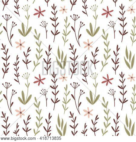 Seamless Floral Vector Pattern. Trendy Soft Pink And Light Green Colors On White. Tender Floral Desi