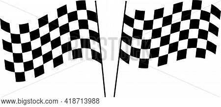 Checkered Flag Pair Vector. Waving Checker Flags To Crown A Champion Or The Winner Of A Race Set Aga
