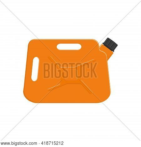 Gasoline Jerrycan With Cap. Orange Petrol Canister Isolated On White Background. Vector Cartoon Illu