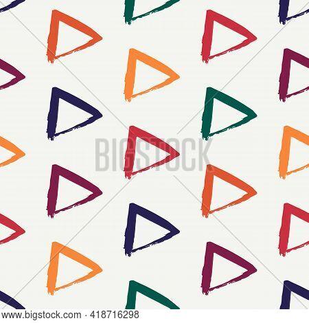 Triangle Motif Minimal Geometric Print. Paint Brush Seamless Pattern. Freehand Grunge Design Backgro