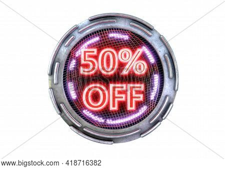 50% Discount Isolated On White Background, Metallic Neon Red Cyber Promotional Stamp And Technology