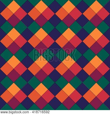 Diamonds, Rhombuses, Tiles And Squares And Checks Seamless Pattern. Ethnic Ornate. Folk Ornament. Ge