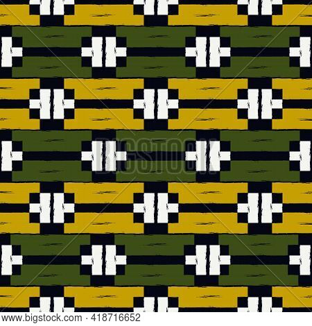Ethnic Motif Handdrawn Print. Paint Brush Strokes Geometric Seamless Pattern. Freehand Indigenous St