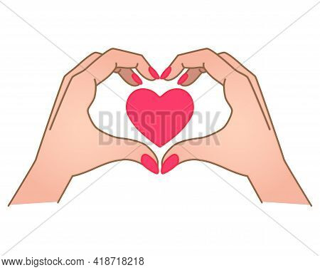 Hands Show Gesture - Heart With Heart Inside - Vector Full Color Illustration. Heart Sign Shown By H