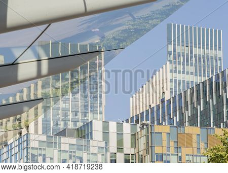 July 2020. London. Abstract Architecture In Greenwich Peninsula In London England