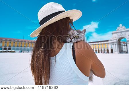 Woman Hugging Her Lovely Persian Fluffy Cat. Cat Lover. Travel With Pet. Woman Tourist Exploring Lis