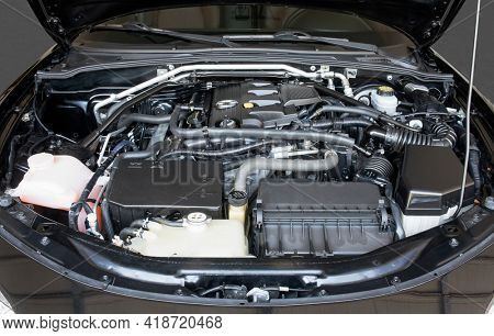 Dayton, Ohio - April 27, 2021: Mazda Miata MX-5, 2015 Grand Touring 2.0 liter engine with 167 HP, front view. Miata remains today in the top-ten of fun, affordable  two-seater, sports car.