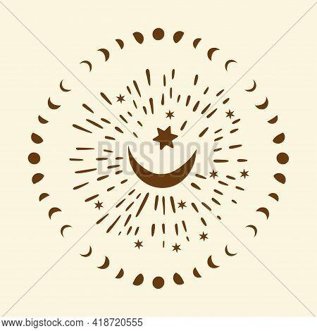 Celestial Moon Sacred Astrology Circle Vector Card. Boho Moonlight Esoteric Art Star Magic Vector.