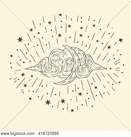 Celestial Moon Sacred Astrology Vector Card. Boho Vintage Moonlight Esoteric Art Star Magic Vector.