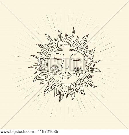 Celestial Sun Star Shine Vector. Sacred Dreaming Line Sunshine Astrology Boho Esoteric Art.