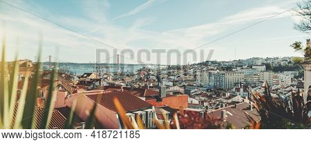Panoramic Shot Of A Sunny Lisbon Cityscape From The High Above; The Panorama Of Lisbon Urban Landsca