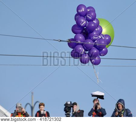 Helsinki, Finland - April 30, 2019: Student Cap Flying Supported By Balloons To Be Place On Havis Am