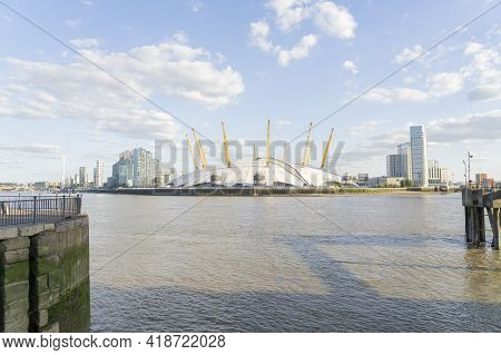 July 2020. London. Millenium Dome Or The O2 Arena And The River Thames, London, England