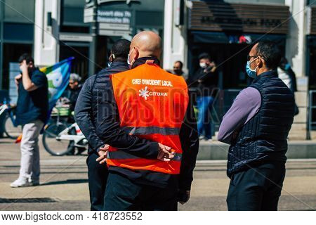 Reims France April 28, 2021 Local Incident Chief Organizing Bus Traffic Following A Traffic Accident