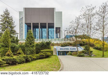 Katowice Poland. April 2019.silesian Library In Katowice, Silesian, Poland Europe