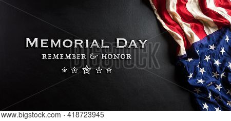 Happy Memorial Day Concept Made From American Flag With Text On Black Wooden Background.