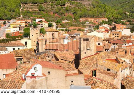 Landscape with village Pratdip in Spanish Catalunya
