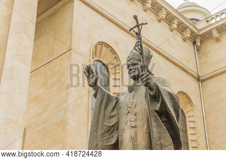 Katowice Poland. April 2019. The Monument Of Pope John Paul Ii Outside Cathedral Of Christ The King,