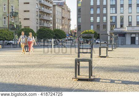 Krakow Poland August 2020. Ghetto Heroes Square, Krakow, Lesser Poland, Poland