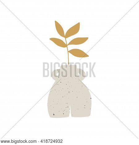 Trendy Ceramic Vase With Yellow Plant Vector Illustration. Leaf In Pot Composition. Contemporary Art